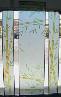 Bamboo Forest Glass Windows Etched Glass Asian Design