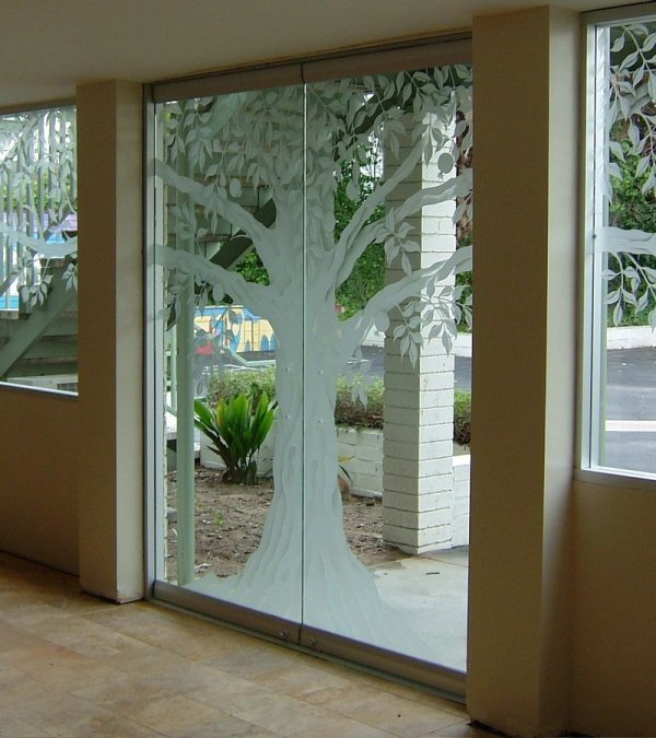 Tree Etched Glass Doors