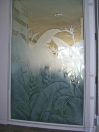 Tropical Lvs Glass Window Etched Glass Tropical Design