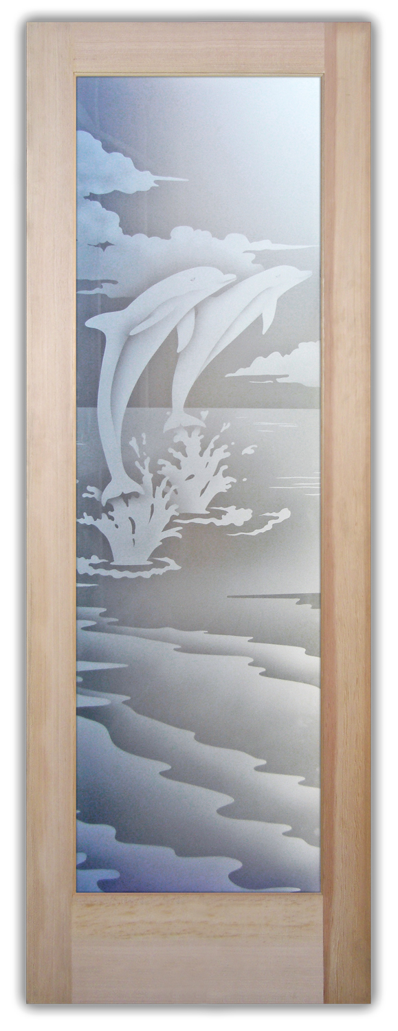 Dolphins Leaping 2D Private Etched Glass Doors Sans
