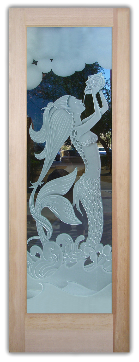 Mermaid Conch 3D Carved Glass Doors  Sans Soucie Art Glass
