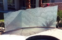 Outdoor Glass Partition :: Decorative Glass Wind Panels