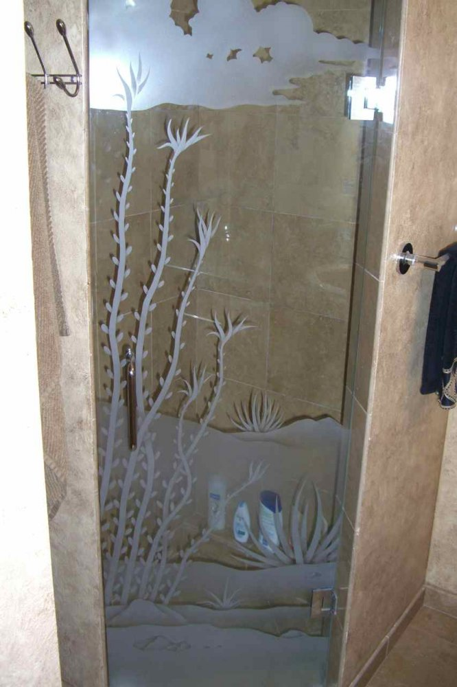 Ocotillo Desert Glass Shower Etched Glass Western Design