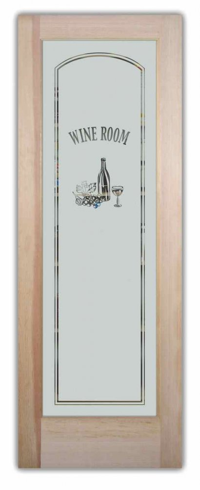 Etched Glass Pantry Or Wine Room Door Frosted Glass By