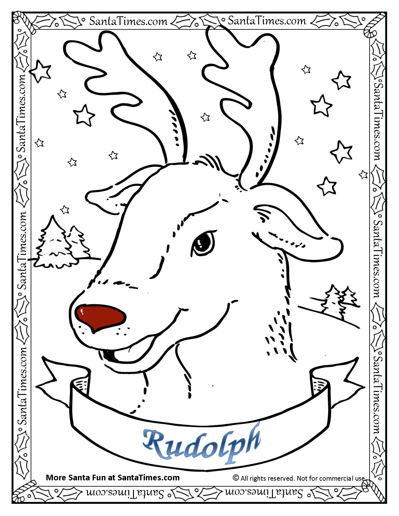 Rudolf The Reindeer Coloring Page