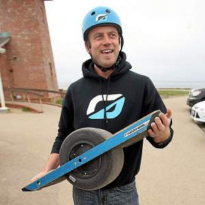Kyle Doerksen's Onewheel weighs 25 pounds with a battery that charges in 20 minutes. (Dan Coyro -- Santa Cruz Sentinel)