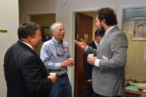 SACNAS President Dr. Gabriel Montaño (left), Santa Cruz Mayor Don Lane, and SACNAS Director of Programs Corey Azevedo connect at the SACNAS Open House on April 29, 2015. (Contributed)
