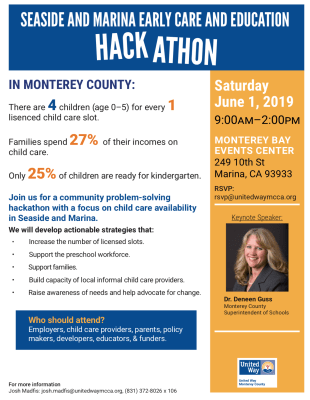 United Way Monterey County Co-Hosts  Early Care + Education Hackathon