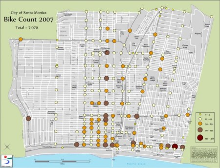 From the City's bike count in 2007. High bike density intersections (intersections that see between 150 and 300 bikes pass through) are indicated with deep red circles.