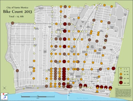 In 2013, the City saw a significant increase in the number of high bike density intersections.