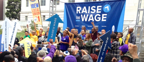 Activists advocate for a $15 minimum wage in Los Angeles. Photo from Capital and Main.