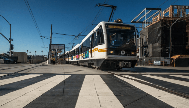 Expo trains testing in Downtown Los Santa Monica. Photo via Expo Construction Authority report.