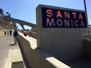 The old Santa Monica sign still shines brightly from the new Incline.