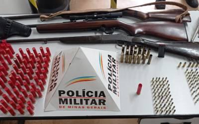 Grande quantidade de armas de fogo e munição apreendidas