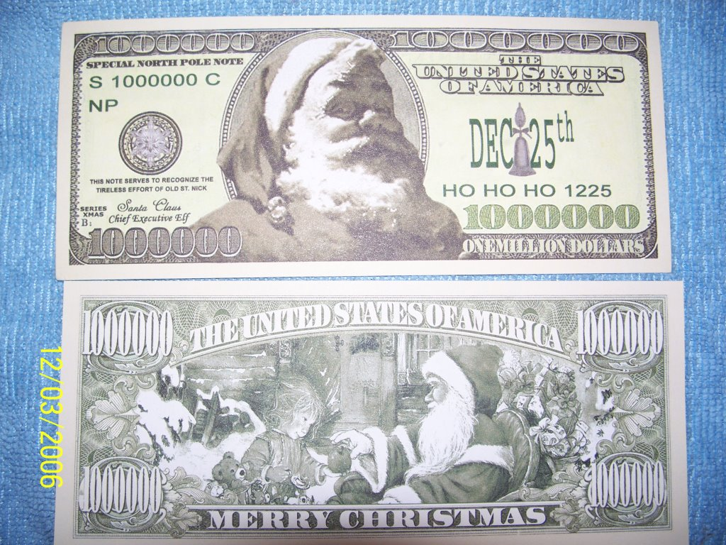 million dollar bills santa bag of 50 santas clauset
