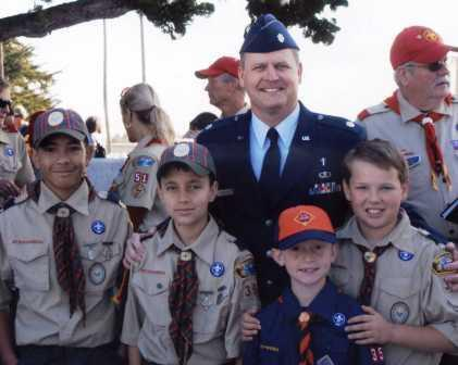Fr. Peter McGuine and Boy Scouts at Ft. Rosecrans