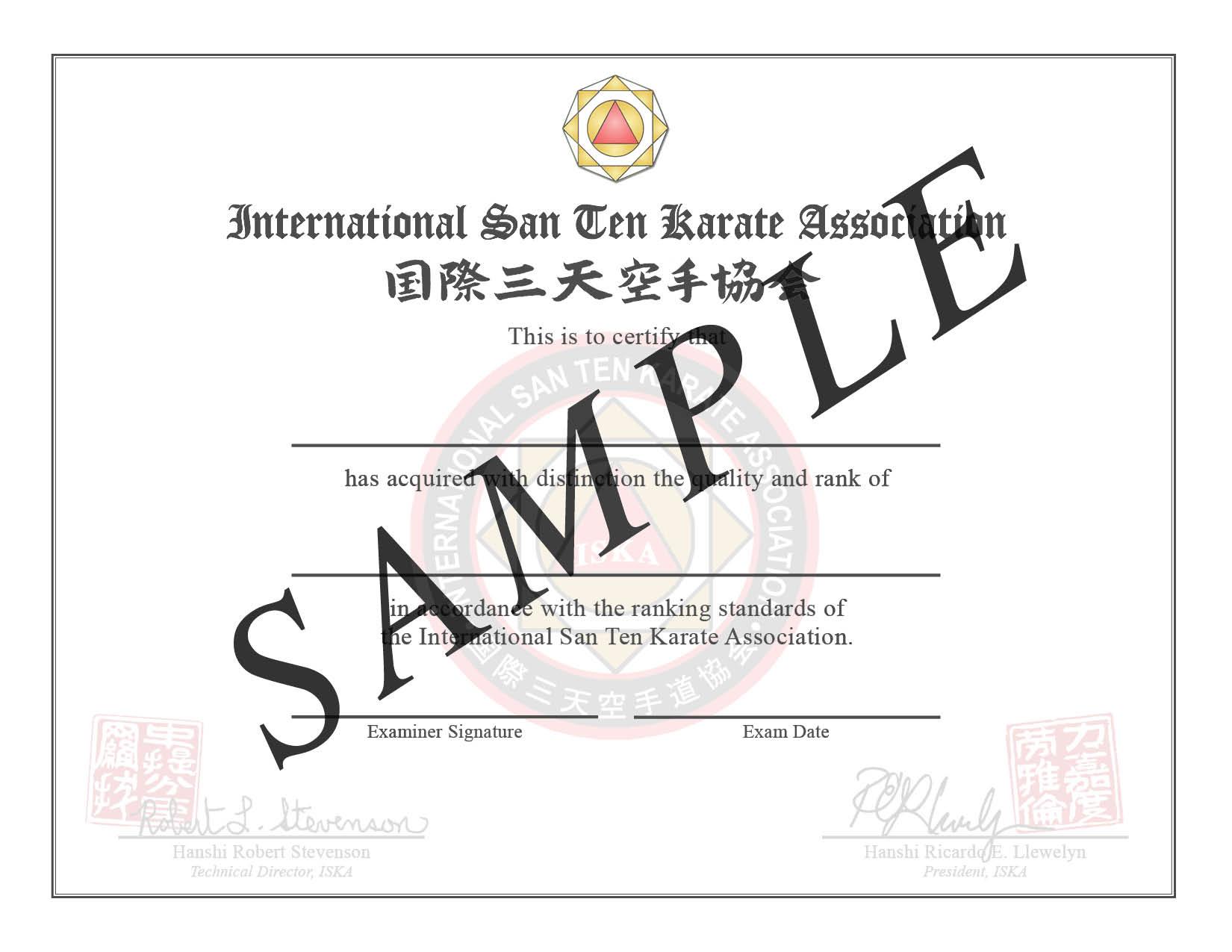 ISKA Kyu Certificates