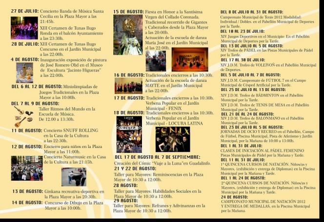 Tríptico Actividades Culturales y Deportivas, Verano 2012