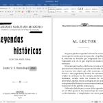 Leyendas HIstóricas, preparación del libro electrónico