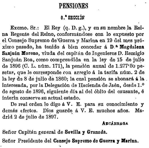 Pensión concedida a Dª Magdalena Sanjuán Moreno, viuda del capitán D. Remigio Sanjuán Roa. Diario Oficial, 1897. Ministerio de Guerra.