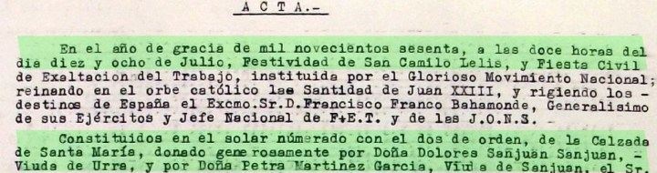 Fragmento del Acta de colocación de la Primera Piedra en las Viviendas Sociales de Santa María. Archivo Histórico Municipal de Santisteban del Puerto. SIG.: ES.23079.AMS-1-01020407-0071.