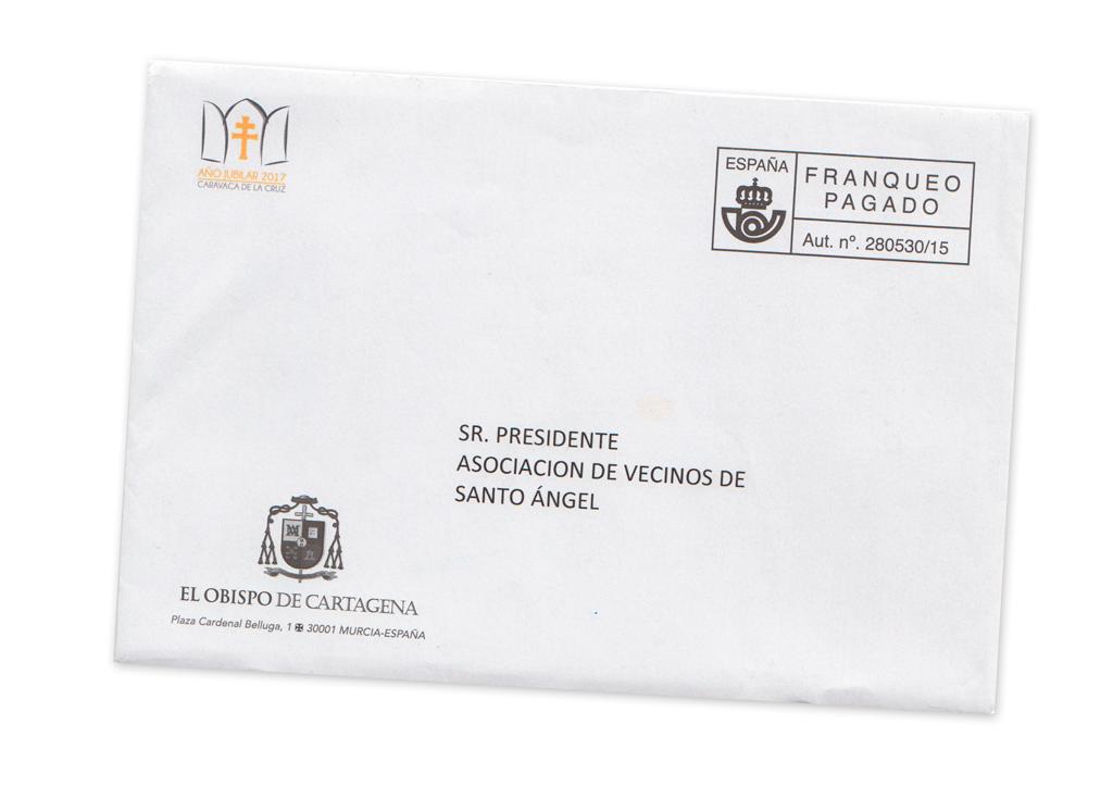 Sobre postal de Navidad, Obispado de Cartagena (2016)