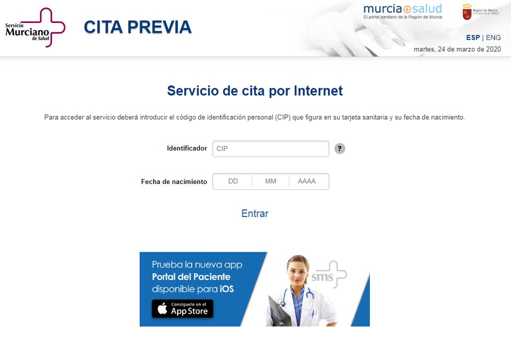 Cita previa Servicio Murciano de Salud