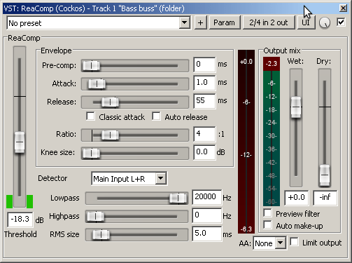 ReaComp settings - 1st compressor to even the bass sound