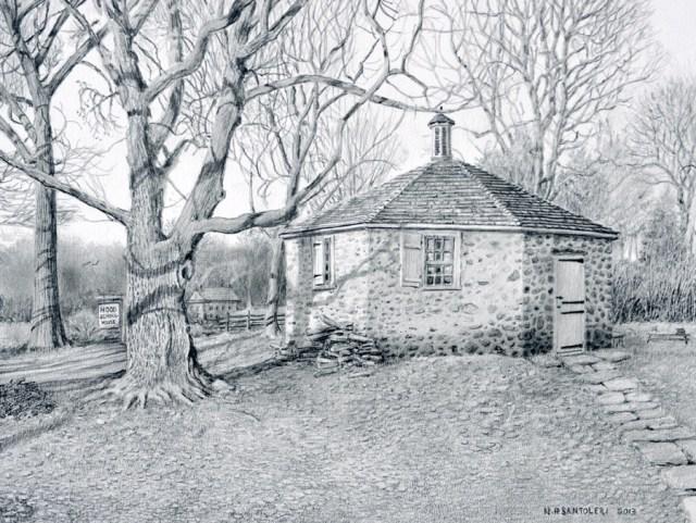 Open Edition Prints of Hood Schoolhouse Drawing by Santoleri