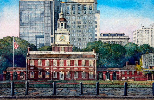 Independence Hall 3 Watercolor Paintings by N. Santoleri
