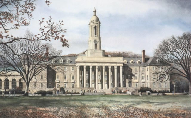 Penn State Old Main painting by Santoleri
