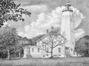 Sandy Hook Light - Pencil Drawing By N. Santoleri