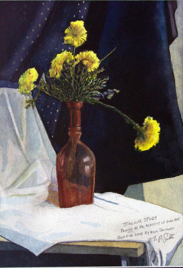 Study with Carnations Watercolor Paintings by Santoleri