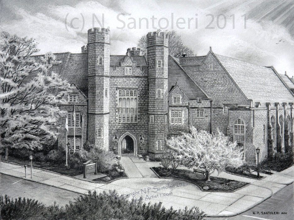 West chester university by n santoleri pencil drawing