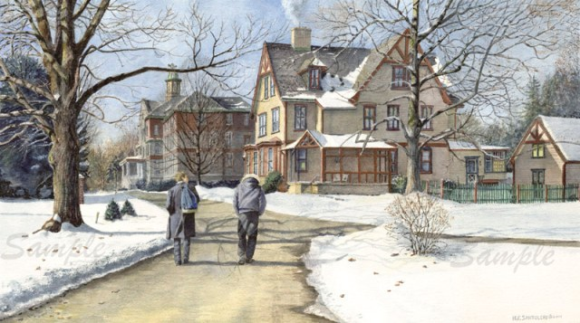 Winter Walk to Class limited Edition Print from Watercolor Painting
