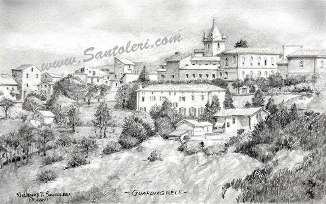 Prints of Guardiagrele, Italy pencil drawing by Santoleri