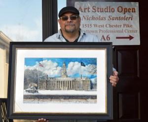 Penn State 2 Old Main Framed Original watercolor