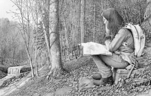 Hiking the Wissahickon Trails, Drawing By Nicholas Santoleri