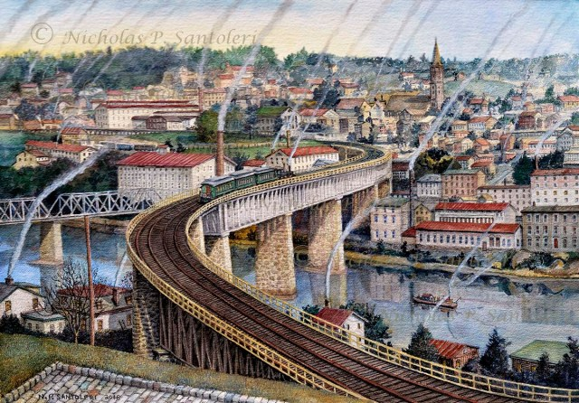 """The S-Bridge to Manayunk"" (Circa 1918) by Nicholas Santoleri"