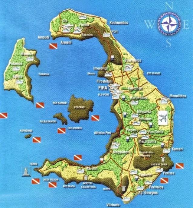Carte plongée à Santorin
