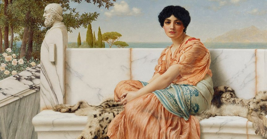 "Detalle de ""In the Days of Sappho"" de John William Godward (1904)"