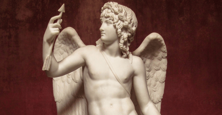 Eros triumphant looking at an arrow