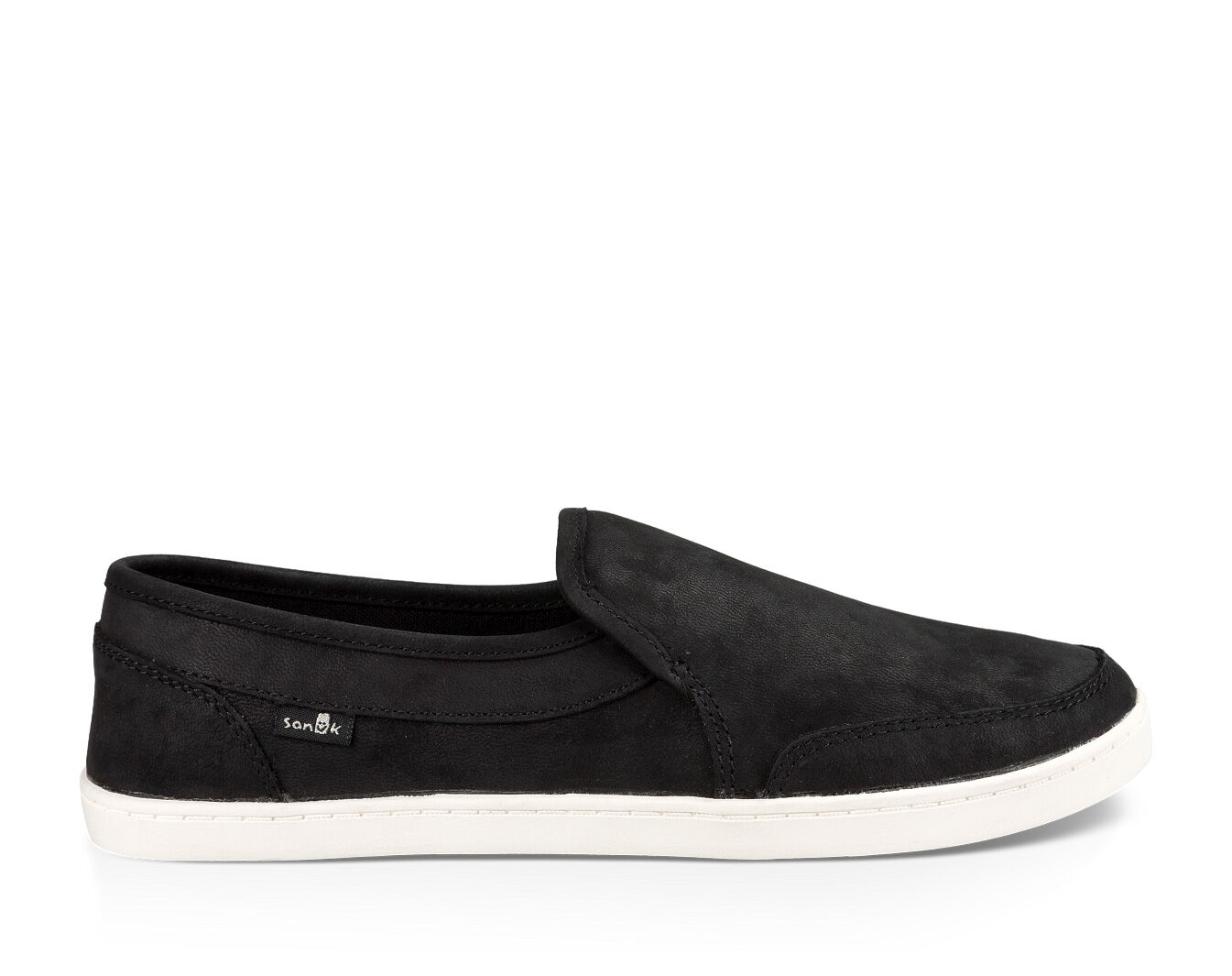 Womens Black Leather Slip On Sneakers
