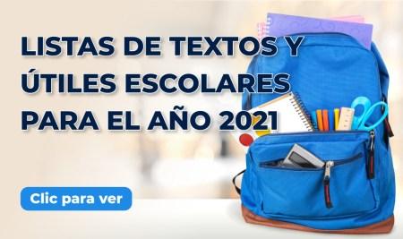 Listas de textos y útiles escolares para el 2021