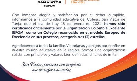 Colegio San Viator de Tunja, tres estrellas en excelencia educativa