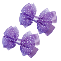 purple hair clips with bow