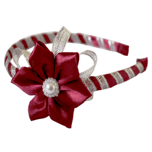 Alice Band Dark red Flower