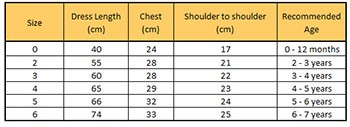 yellow smocked dress size chart
