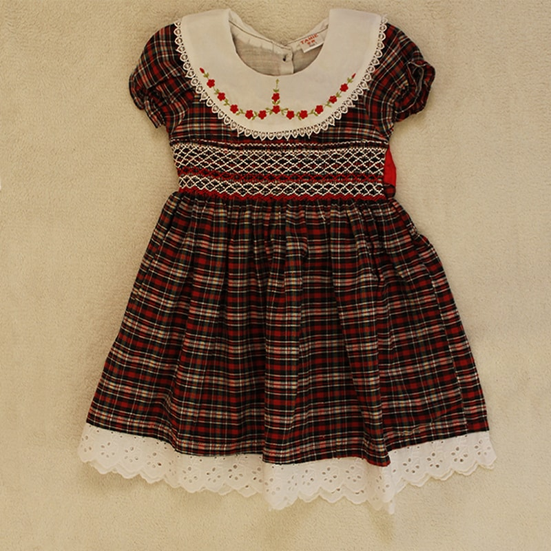 Maroon and White Smocked Dress