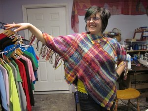 Annie with her first poncho